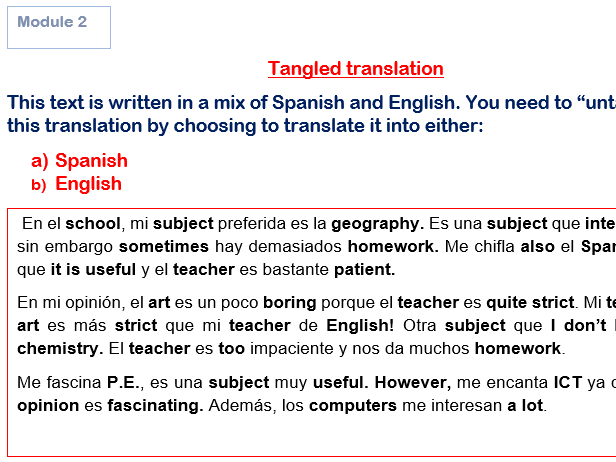 GCSE Spanish Tangled Translations ALL Modules With Answers