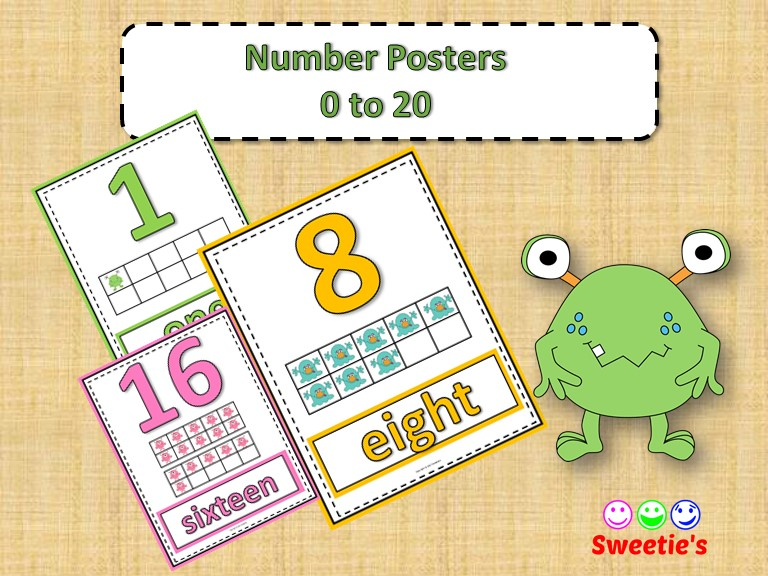 Number Posters 0 to 20 with Ten Frames - Monsters