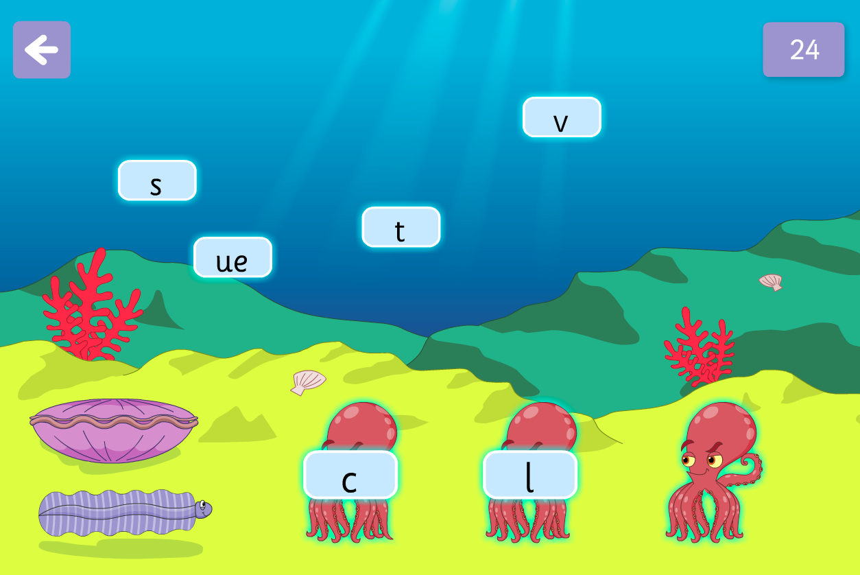 Graphemes Blending and Spelling - Octopus Says Interactive Game - Phase 5