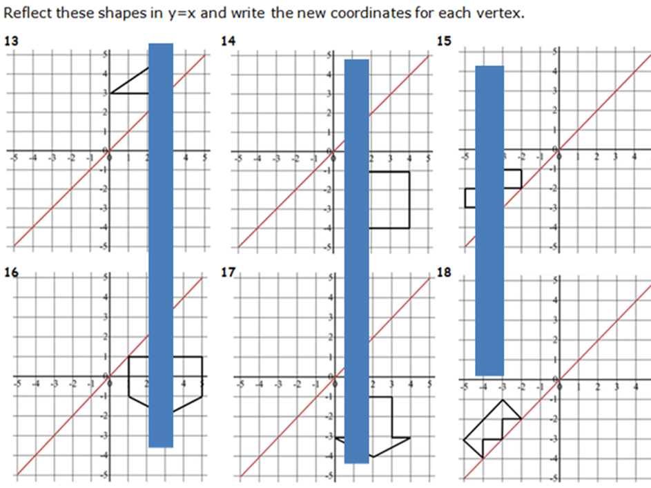 KS2 YEAR 6 REFLECTIONS OF SHAPES IN X, Y, Y=X AND Y=-X FOR CHALLENGE. WORD AND PDF. GREAT PRACTICE.