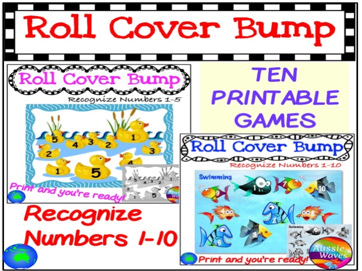 Maths Centre Games Learning NUMBERS BUNDLE 1-10 RECOGNITION Roll Cover Bump Fun