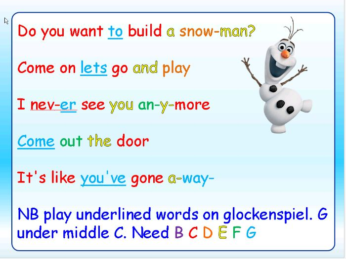 Do You Wanna Build A Snowman? Christmas lyrics PowerPoint