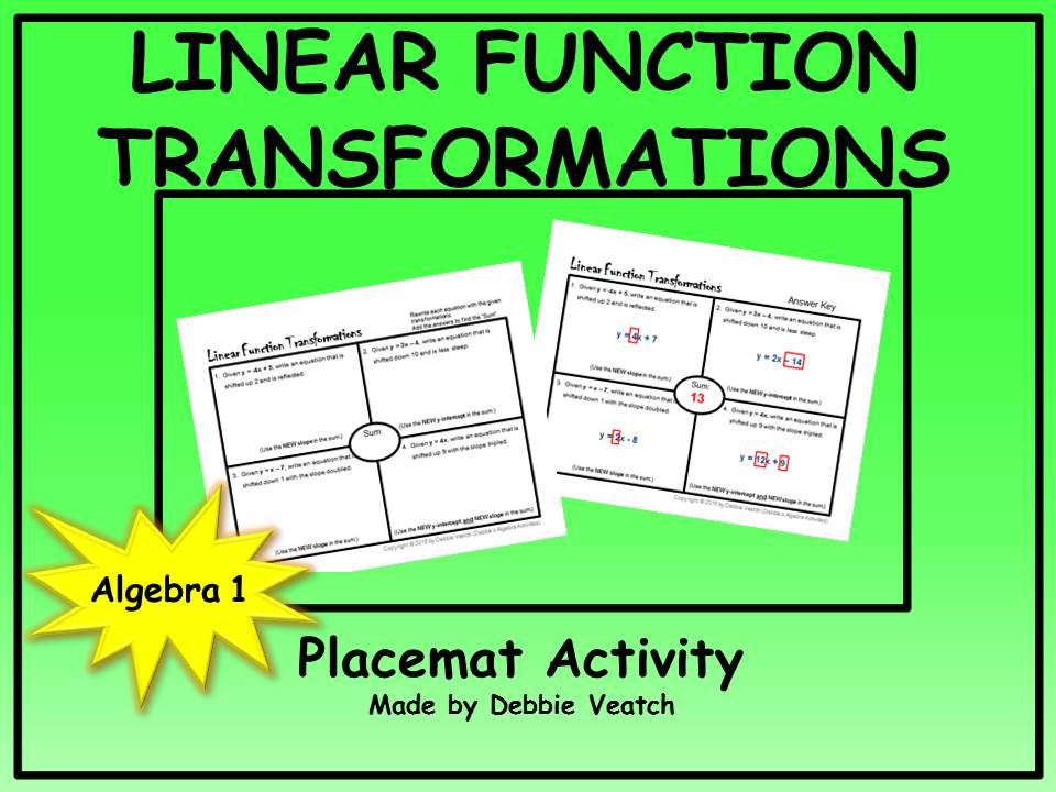 Linear Function Transformations Placemat Activity (FREE)