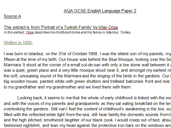 AQA GCSE English Language three mock Paper 2s