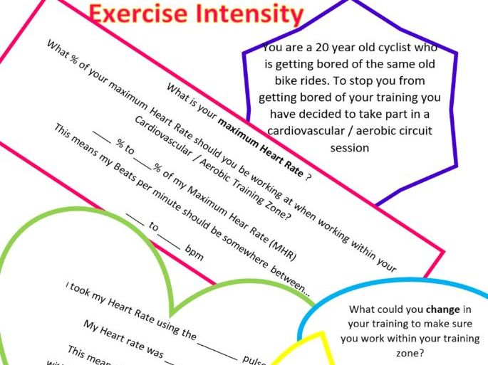 BTEC SPORT UNIT  - Exercise Intensity Worksheet