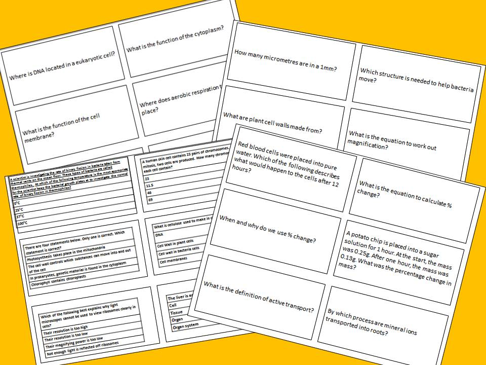 AQA GCSE Biology Separates New Spec Flash cards for topic 1 Cell Biology