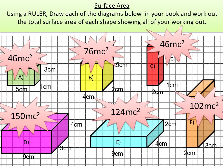 Surface Area Presentation & Worksheets