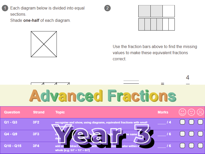 Advanced Fractions Worksheet + Answers (KS2 - Year 3)