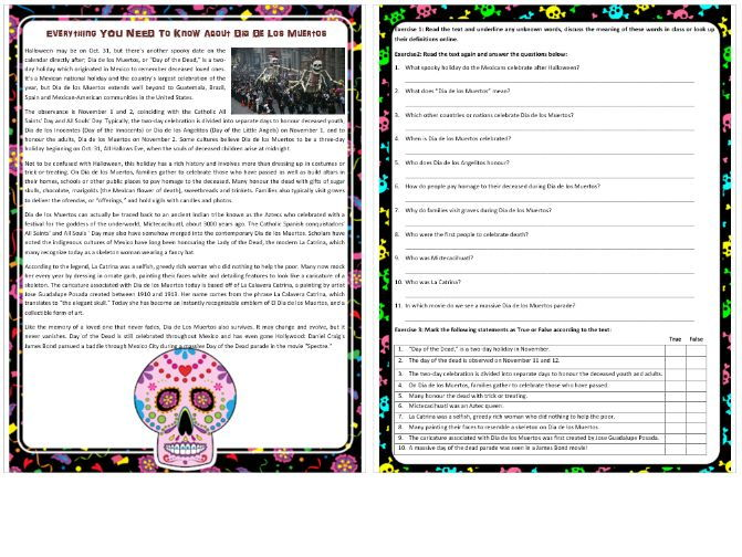 Everything You Need To Know About Dia De Los Muertos - Reading Comprehension Text / Worksheet