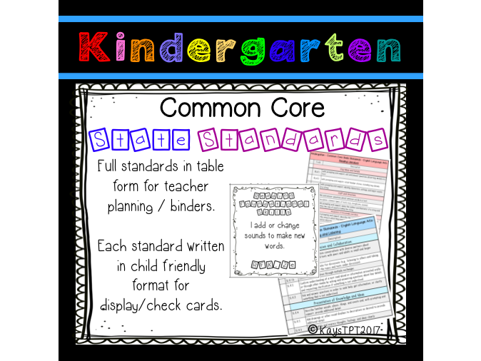 Kindergarten full CCSS - Teacher and child friendly versions!