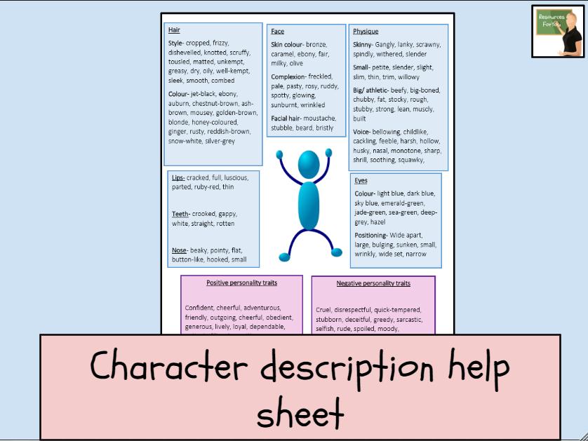 English- Character Description Help Sheet