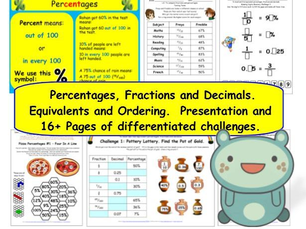 Percentages Y6 Equivalent Fractions Decimals Differentiated Challenges & Mastery