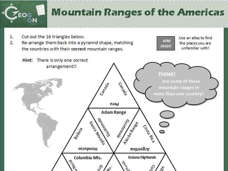 Mountain Ranges of the Americas Triangle Puzzle