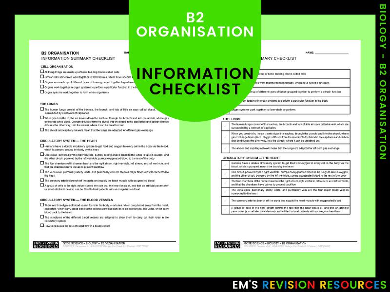 B2 Organisation [Information Checklist]