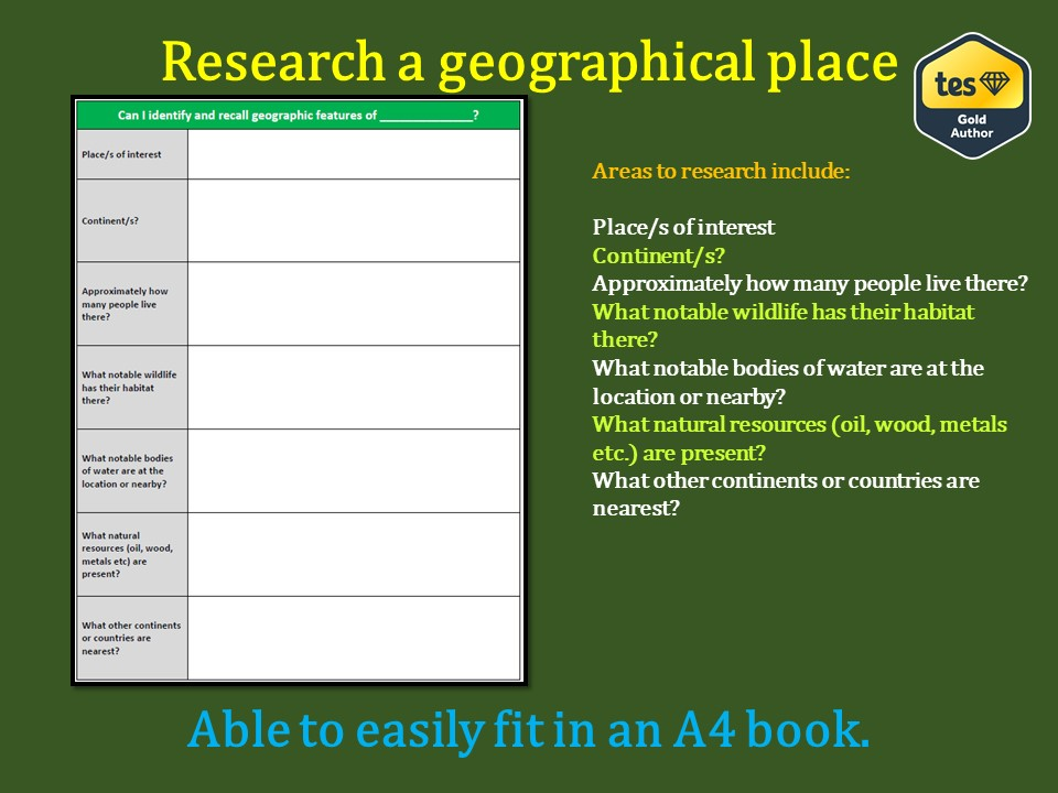 Research a geographical area/continent
