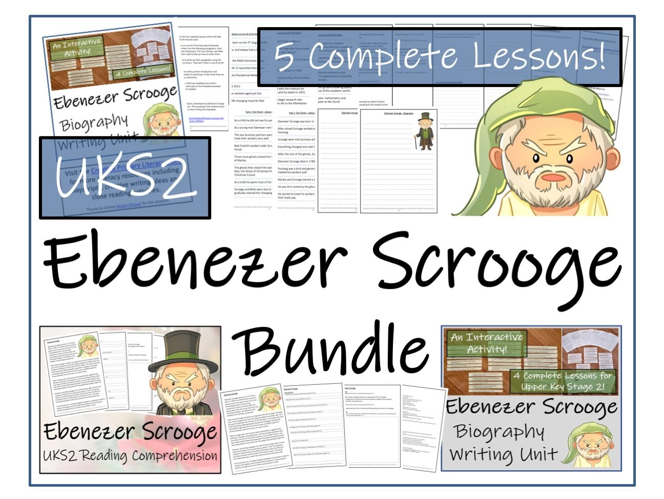 UKS2 Literacy - Ebenezer Scrooge Reading Comprehension & Biography Bundle