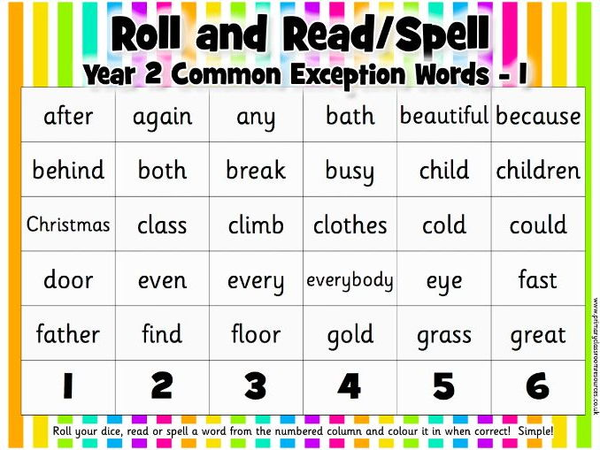 Roll and Read/Spell - Year 2 Common Exception Words