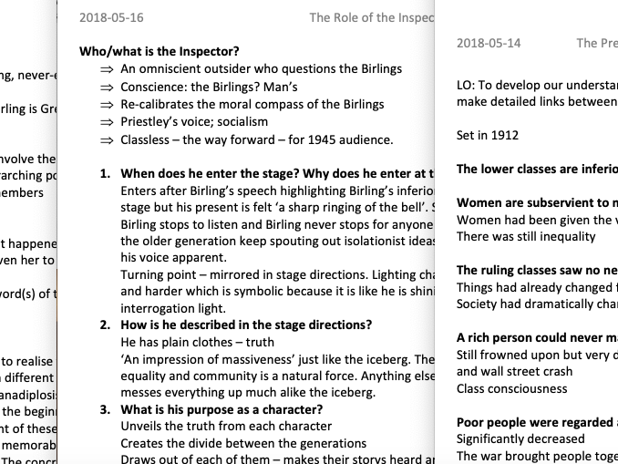 GCSE An Inspector Calls Level 9 Revision Resources
