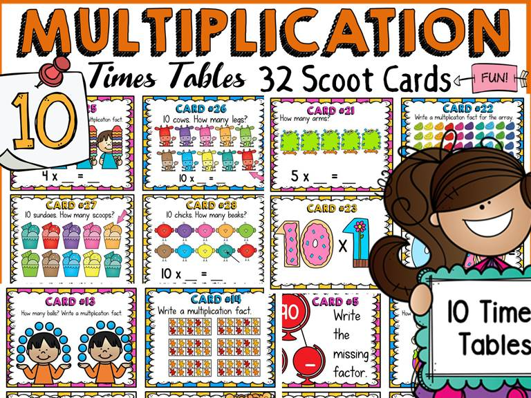 MULTIPLICATION: TEN TIMES TABLES FACTS: SCOOT CARDS