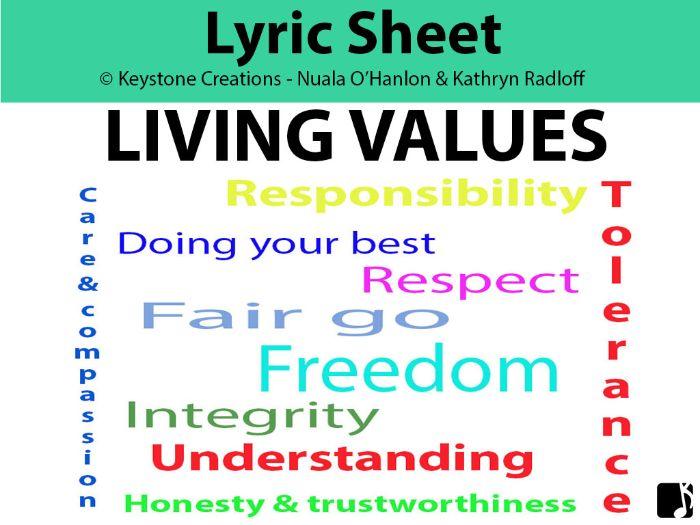'LIVING VALUES' (Grades K-12) ~ Lyric Sheet Package
