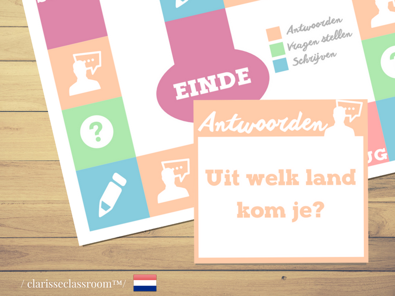 Dutch Board Game⎜Ask questions, answer and write ⎜Printable Board Game⎜Learning Dutch