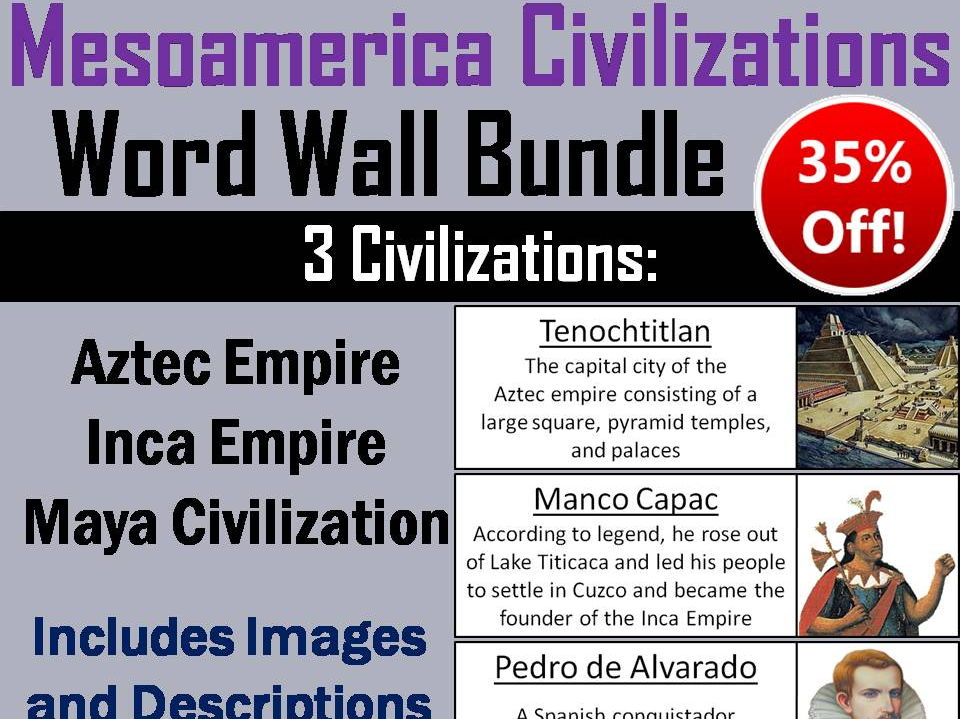 Mesoamerica Civilizations Word Wall Bundle