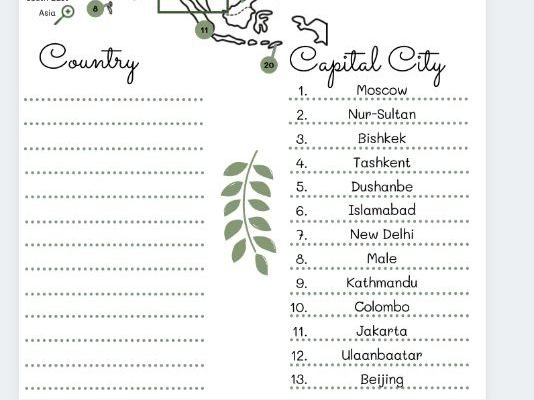 Asia country and capital cities worksheets with differentiated activities