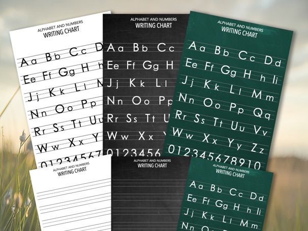 Alphabet and letter number chart - 6 pages - White, Blackboard, Green chalkboard