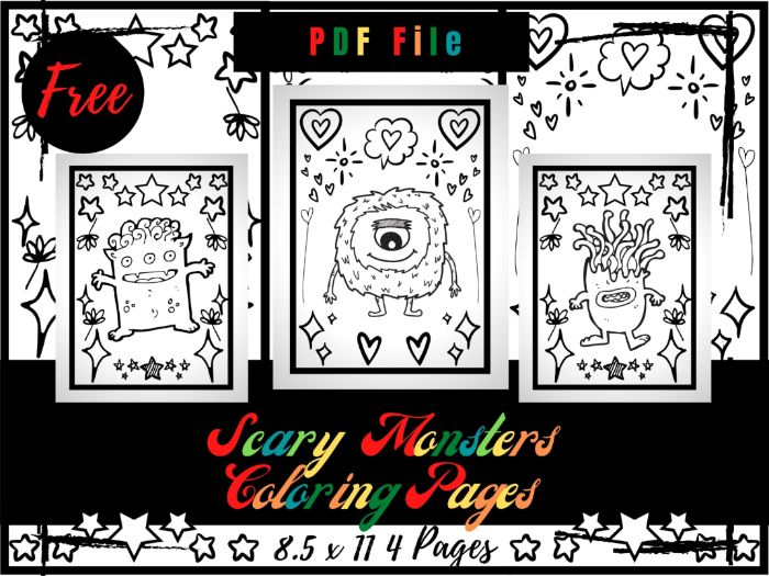 FREE Scary Monsters Colouring Pages For kids, Free Giant Monsters Colouring Sheets PDF