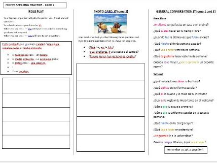 Spanish AQA GCSE speaking exam revision (Higher -Card 2)