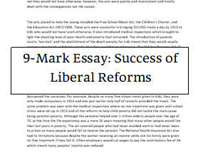 History: Liberal Reforms 9-mark essay