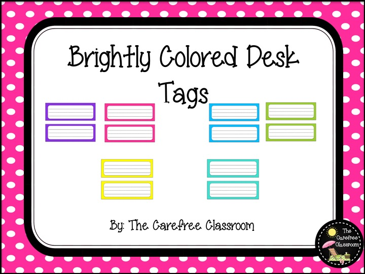 Desk Tags: Bright Colored