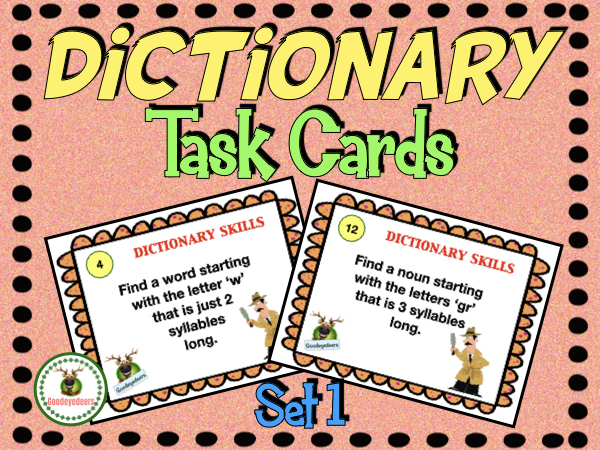 Dictionary Skills -Task Cards