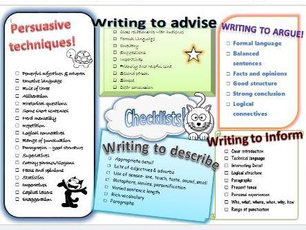 Checklist - persuade/advise/argue/describe/inform