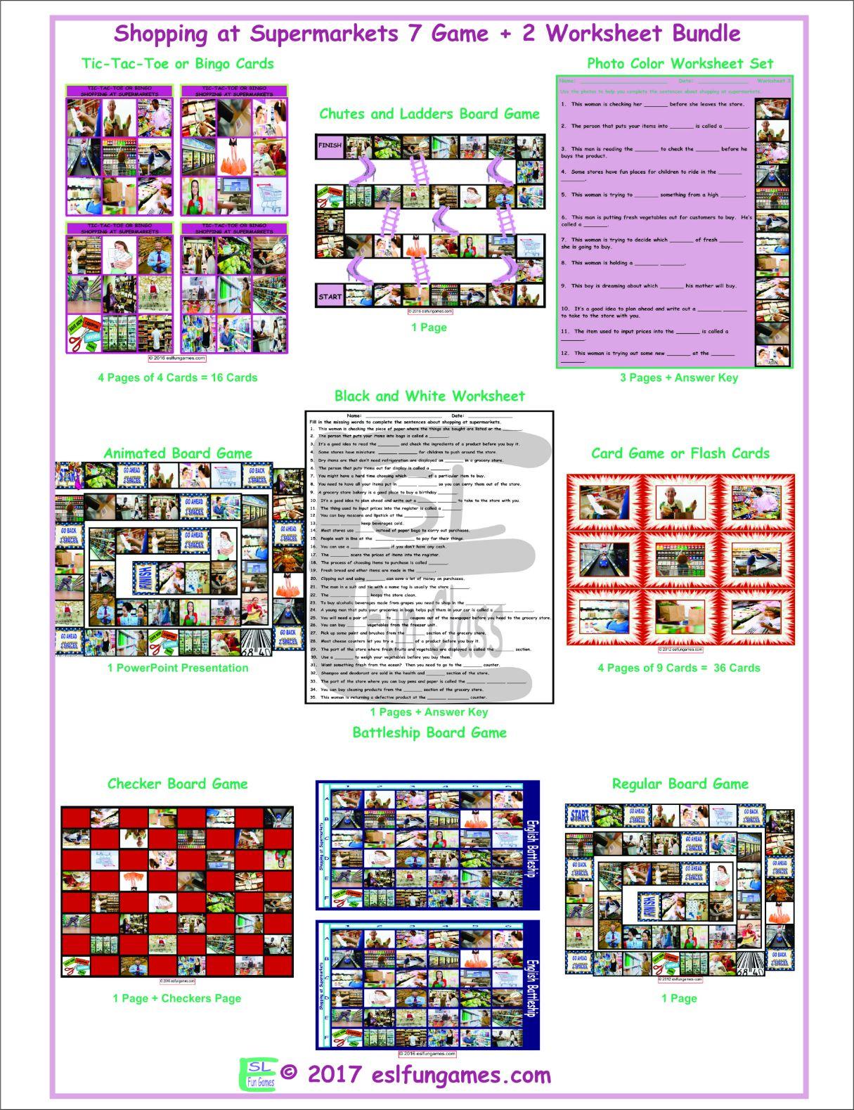 Shopping at Supermarkets 7 Game Plus 2 Worksheet Bundle
