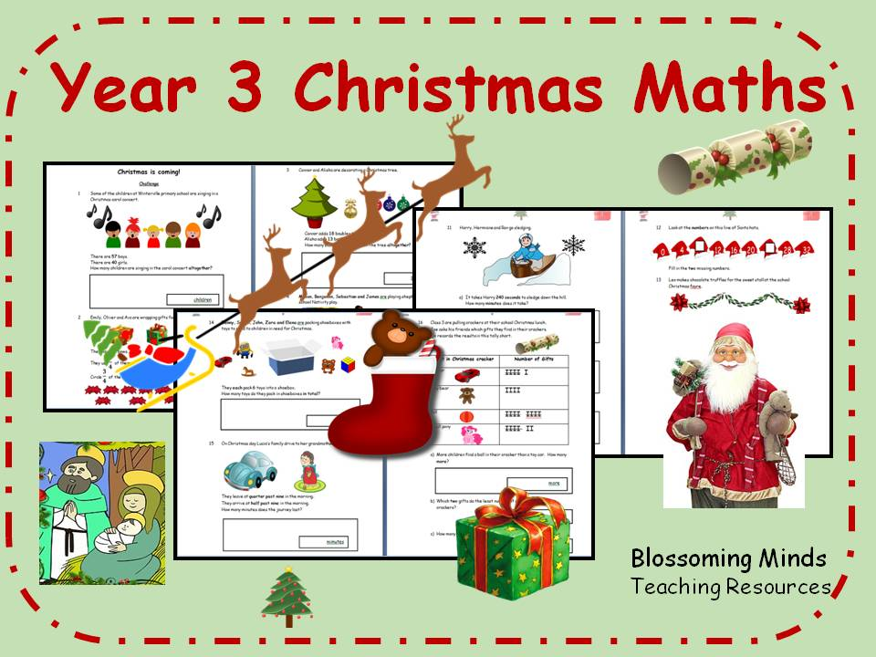Year 3 Christmas Maths - all topics - differentiated levels