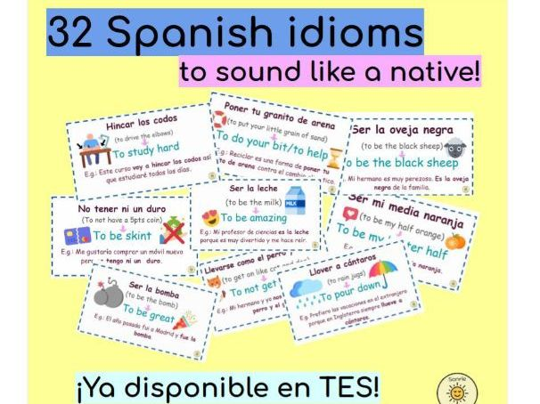 Spanish idioms display/flashcards to sound like a native!