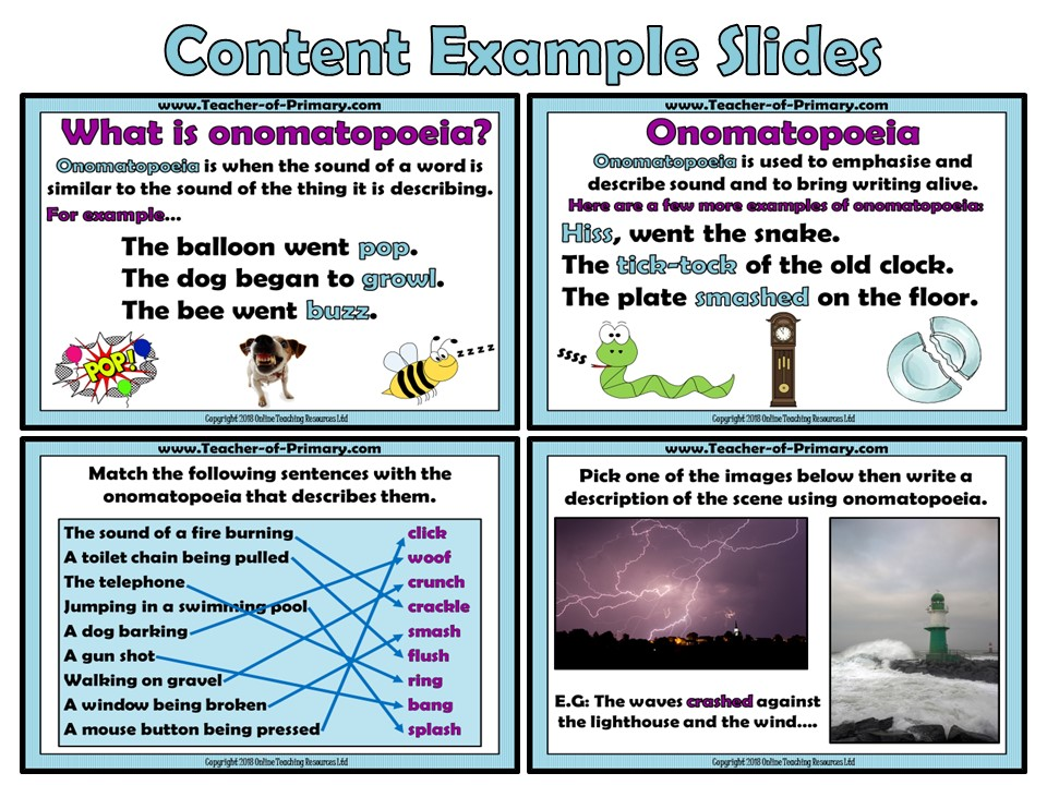 Onomatopoeia (PowerPoint and worksheet)
