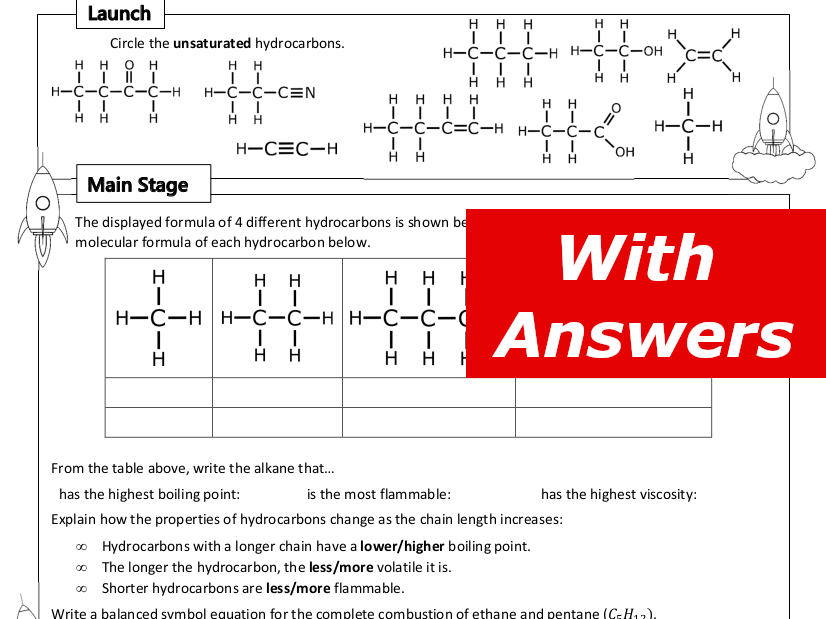 Hydrocarbons Home Learning Worksheet GCSE