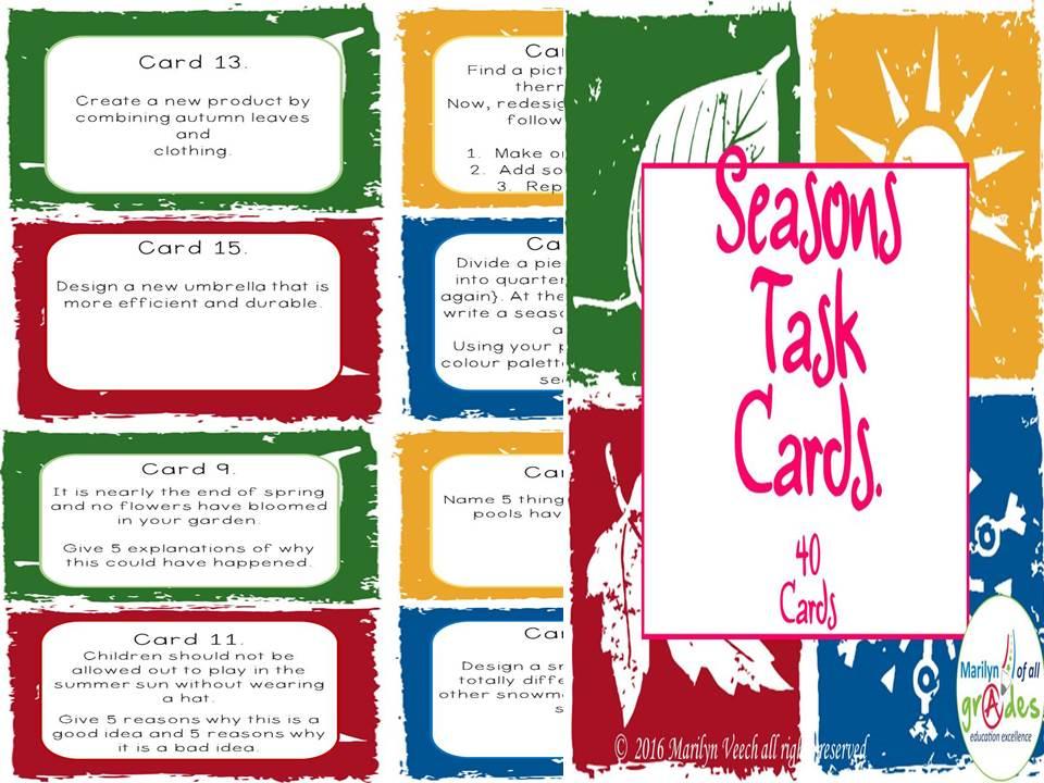 40 Seasons Themed Task Cards.