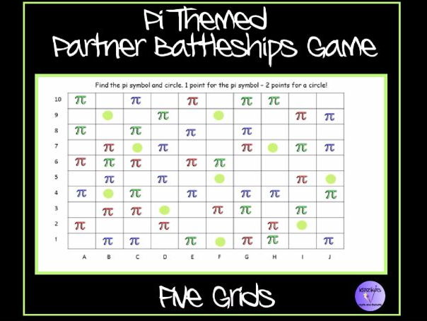 Pi Themed Partner Battleships Game Ideal For Pi Day 14th March