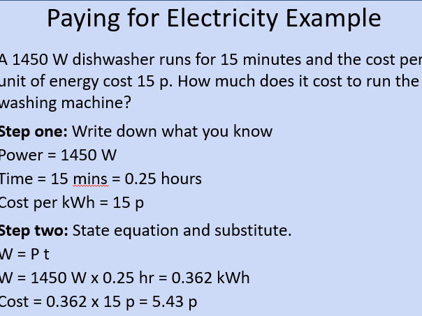 OCR AS Physics: Paying for Electricity