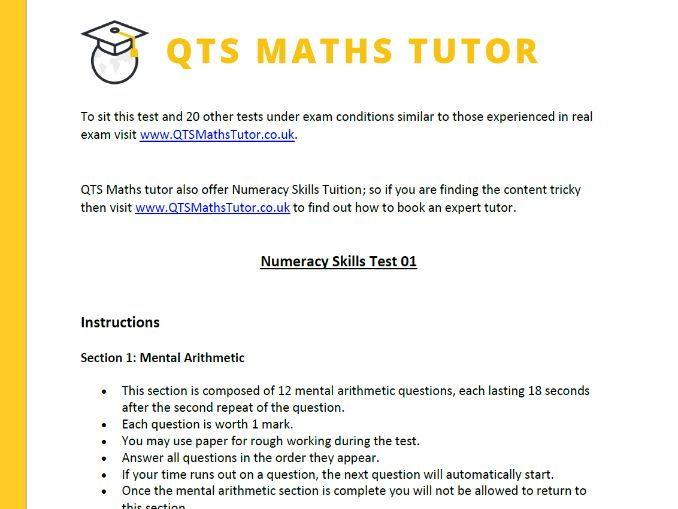 Numeracy Skills Practice Test 01 (QTSMathsTutor.co.uk)