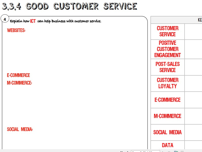 AQA GCSE Business (9-1) 3.3.4 Good Customer Service Learning Mat / Revision