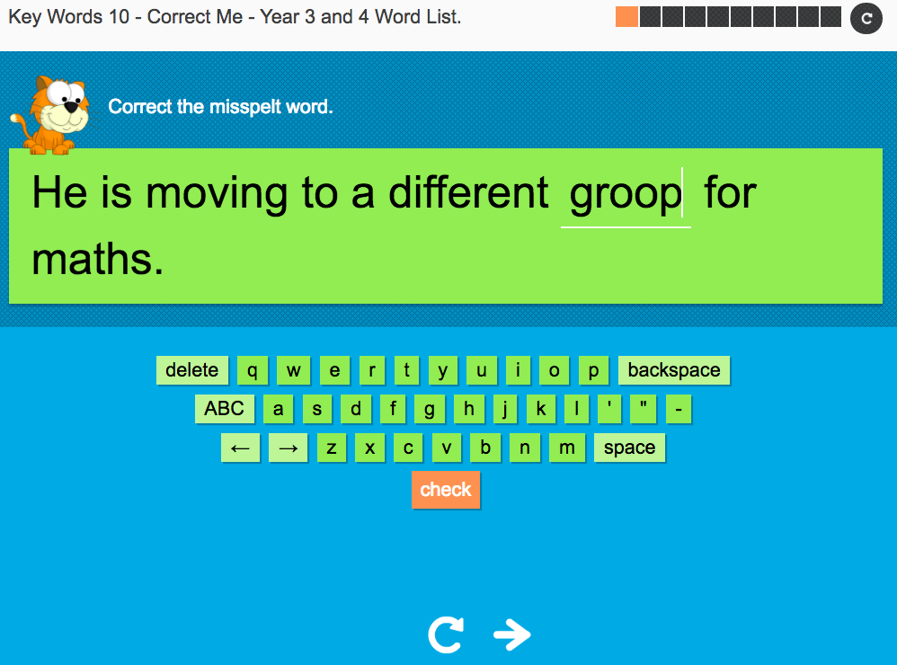 Key Words Spelling Interactive Exercise 10 - Correct Me -Year 3/4 Spag