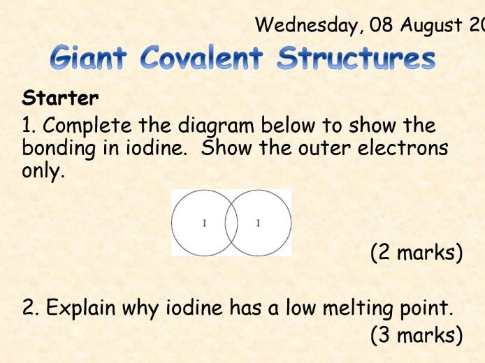 AQA Chemistry Topic 3: Giant Covalent Structures