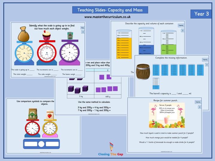 Year 3 Capacity and Mass Teaching Slides- Summer Term Block 4 White Rose Style
