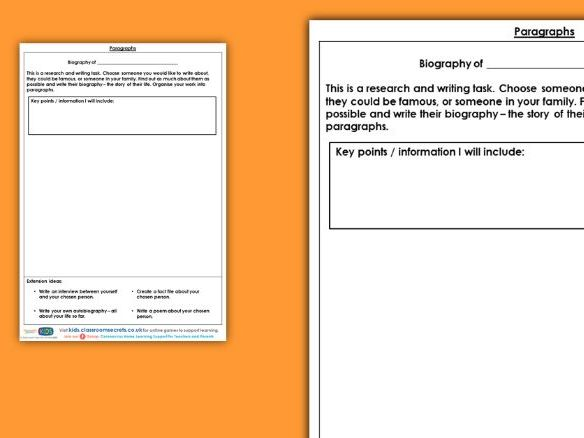 Paragraphs Year 6 Interactive  Writing Prompt Worksheet