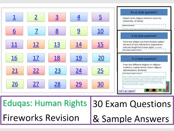 FIREWORKS! Eduqas Human Rights: Exam Question Revision Game