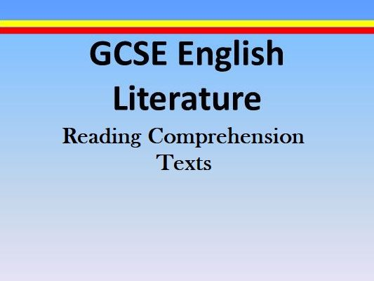 GCSE ENGLISH LITERATURE BOOK SUMMARIES / AQA READING COMPREHENSION / NOVELS (SAVE 75%)